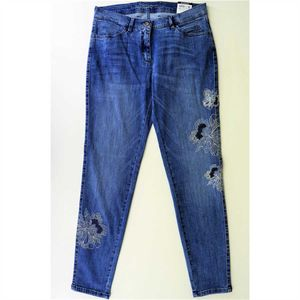 Toni Fashion Perfect Shape- Slim Fit Jeans in Mid Blue mit toller Stickerei 38