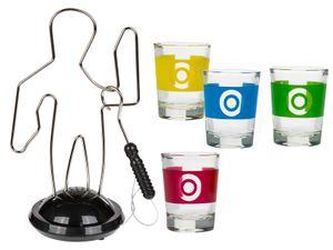 Trinkspiel heiße Draht, Partyspiel mit 4 Gläsern