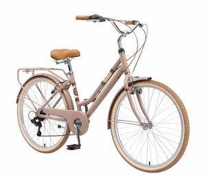 BIKESTAR City Stadt Fahrrad 26 Zoll   16 Zoll Rahmen, 7 Gang Shimano Damen Holland Rad Retro Bike, V-Bremse, Gepäckträger   Braun