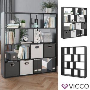 Vicco Raumteiler Pilar Bücherregal Standregal Büroregal 12 Fächer Schwarz