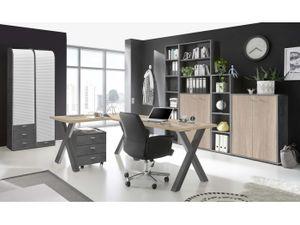 Büromöbel Mister Office 8 teiliges Komplett Set Büro mit Eckschreibtisch RollcontainerAktenschrank Rolloschrank in Graphit und Eiche Sägerau Büroeinrichtung Arbeitszimmer