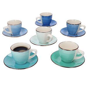 12tlg. Kaffee Set Blue Curacao 6 Personen I Tassen + Untertassen Tee-Gedeck blau