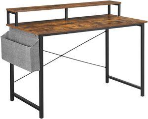 VASAGLE Schreibtisch, 120 x 60 x 90 cm, Computertisch mit Monitorständer, verstellbare Füße, Aufbewahrungstasche, Industrie-Design, für Homeoffice, vintagebraun-schwarz LWD082B01