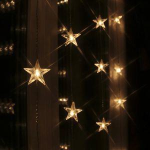 LED Lichtervorhang 'Star Curtain' mit 20 Sternen - 20 warmweiße LED - 180x40cm - inkl. Trafo