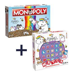 Monopoly Pummeleinhorn Standard + Top Trumps Match Pummeleinhorn Brettspiel Gesellschaftsspiel Set