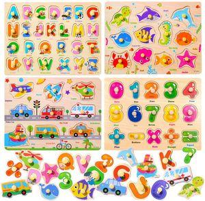 Holzpuzzle, 4 Stück Puzzle Hölzernes Spielzeug,Holz puzzle,Holzpuzzle für Kinder,Holzpuzzle ab 1,Holzpuzzle ab 3 Jahren,Lernspielzeug Geschenk,Alphabet Nummer Holzpuzzle,Fahrzeuge Holzpuzzle