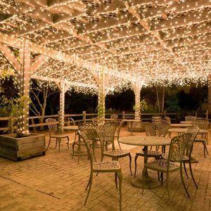 100M 600 LED Lichterkette Karneval Hochzeit Außen Innen Garten Beleuchtung