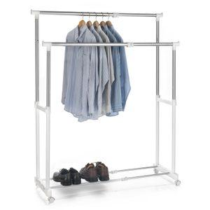 Garderobenwagen CASA in weiß, 2 Kleiderstangen