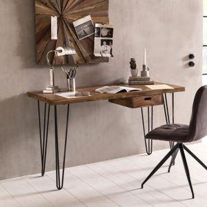 WOHNLING Schreibtisch BAGLI braun 130 x 60 x 76 cm Massiv Holz Laptoptisch Sheesham Natur | Landhaus-Stil Arbeitstisch mit Ablage | Bürotisch PC-Tisch