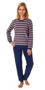 Langer Damen Frottee Pyjama Schlafanzug mit Bündchen und tollen Ringeln - 59894, Farbe:Ringel blau, Größe:40/42