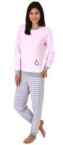 Damen Frottee Pyjama langarm mit Bündchen und niedlicher Pinguin Stickerei - 291 13 779, Farbe:rosa, Größe:40/42