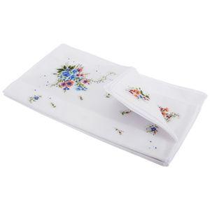 Damen Taschentücher mit Blumenmuster, 8 Stück HAND103 (Einheitsgröße) (Streifenbordüre)