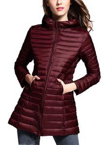Mittellange leichte Winterjacke für Damen Daunenjacke,Farbe: Rotwein,Größe:XXL