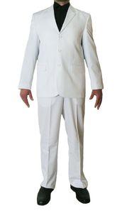Herren Designer Anzug Weiß Sakko und Hose Herrenanzug Bundfalte Einreiher Gr. 46 - 56, Größe Anzüge:48 S, Farbe Anzüge:Weiß