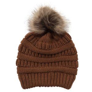 Frauen Winter Outdoor weich warm einfarbig Strick Mütze Cap Cross Pferdeschwanz Hut, Farbe: Karamell 2