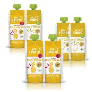 Hilli Fruits100% Fruchtpüree 3x Mango + 3x Ananas 6er Set