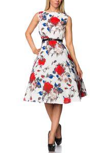 Kleid mit Gürtel, Farbe: Weiß/Rot, Größe: L