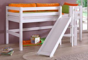 Hochbett ELIYAS Kinderbett mit Rutsche Spielbett Bett Weiß, Matratze:mit