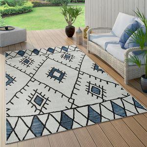 In- & Outdoor Teppich Flachgewebe Geometrisch Abstrakt Rauten Design Ethno Blau, Grösse:160x220 cm