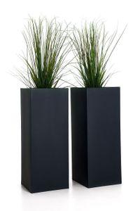 """Pflanzkübel Blumenkübel Zink """"Block"""", Anthrazit - 40x40x100 cm (2er Set ohne Einsatz)"""