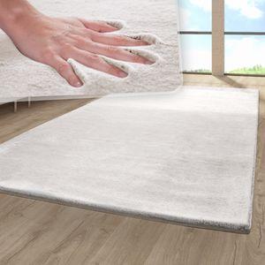 Hochflor Wohnzimmer Teppich Fellteppich Imitat Einfarbig Plüschig Fransen Beige, Größe:160x230 cm