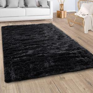 Hochflor Teppich Wohnzimmer Fellteppich Kunstfell Shaggy Flauschig Schwarz, Grösse:160x220 cm