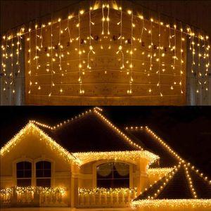 5M 216 LED Eisregen Lichtervorhang Warmweiß Lichterkette Innen Außen Party Garten Weihnachten Deko