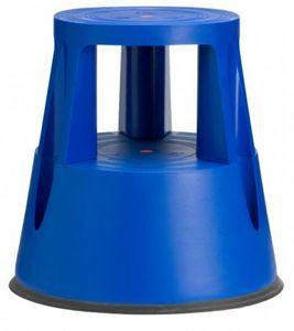 Rollhocker Ku. blau Trgf.150kg H.400mm oben D.410mm