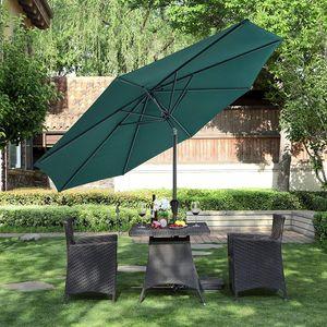 SONGMICS Sonnenschirm Ø 300 cm   Sonnenschutz mit Kurbel knickbar   achteckiger Gartenschirm aus Polyester   ohne Ständer Grün GPU30GN