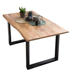 SIT Möbel Esstisch mit Baumkante | 160 x 85 cm | Platte 26 mm Mango sägerau natur | Gestell Stahl schwarz | B 160 x T 85 x H 78 cm | 07107-75 | Serie TABLES & CO
