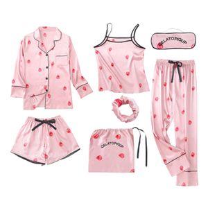 7 Stück Frauen Schlafanzug Damen Pyjama Set Nachtwäsche Hausanzug für Frauen Mehrfarbig Blumen Pink XL Vollständiger Satz