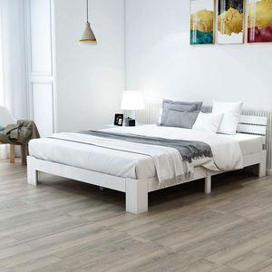 Merax Massivholzbett in Buche Doppelbett 140 x 200 cm Holzbett Weiss Balkenbett Bettgestell mit Kopfteil und Lattenrost, als Seniorenbett geeignet, Komfortbett mit Rückenlehne Bett Weiß