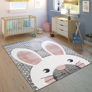 Kinderteppich Kinderzimmer Konturenschnitt Niedlicher Hase Grau Creme Rosa, Grösse:140x200 cm