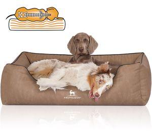 Knuffelwuff Orthopädisches Hundebett Tampa aus laser-gestepptem Kunstleder XXL 120 x 85cm Camel