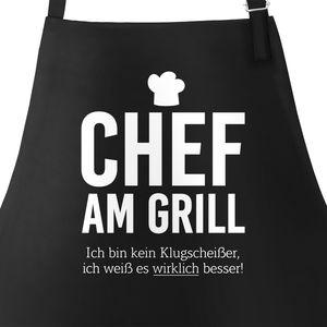 Grill-Schürze für Männer mit Spruch Chef am Grill Ich bin kein Klugscheißer, ich weiß es wirklich besser Küchenschürze Moonworks® schwarz unisize