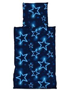 4 teilig Bettwäsche 135x200 cm Sterne blau leuchtoptik Mikrofaser 2 Garnituren