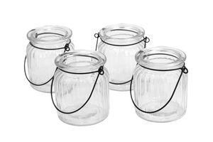 Windlicht Glas mit Henkel 8x9 cm, Set 4 Stück