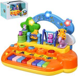 Musikspielzeug für Baby Kleinkinder, Babyspielzeug inkl. 5 Musik Instrumente, Klavier Keyboard mit Tierfamilie und Licht, Tastatur Piano Lernspielzeug für Babys ab 10 Monaten