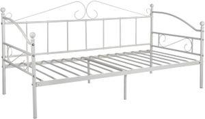 IPOTIUS Tagesbett mit Lattenrost Metallbett Bettrahmen, Bettsofa Schlafsofa für Schlafzimmer Wohnzimmer, Weiß 90 x 190 cm, AVIO