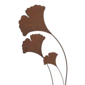 3x Gartenstecker Gingko Blatt aus Metall 26x24 cm H 118 cm , Rost, Edelrost, Ginko, Ginkgo