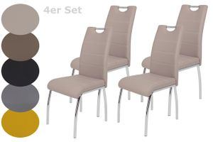 4er Set Vierfußstuhl Susi - Kunstleder Cappuccino - Metallgestell Chrom - Bügelgriff - Belastbarkeit ca. 120kg