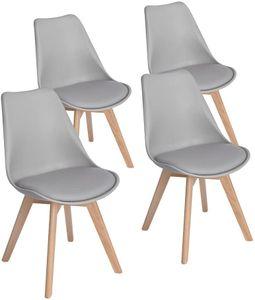 HJ 4er set Skandinavischen Retro Design Stuhl Kunststoff PP Esszimmerstühle mit Massivholz Buche Bein Grau