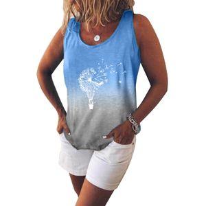 Sommermode Damen Einfarbig Tops Rundhals Farbverlauf Lose Damen Bottomi Größe:S,Farbe:Blau