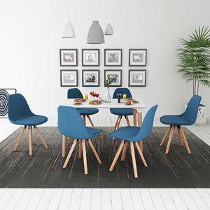 7-teilige Essgruppe Tisch Stühle Wei? und Blau