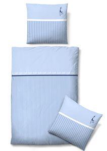 Biberna Baumwollsatin Bettwäsche Sylt Hellblau Weiß maritim 100% Baumwolle , GRÖßENAUSWAHL:135x200 cm + 80x80 cm
