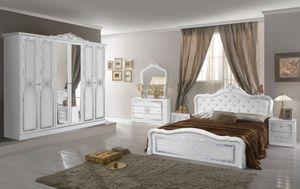 Barock Schlafzimmer Set Livia in Weiss 4-Teilig 180 x 200 cm - Mit Kommode + Spiegel - 6-Türig