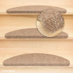 Metzker Stufenmatten Treppenmatten Treppenmatten Ramon MW Halbrund Beige-Hellbraun 15 Stück