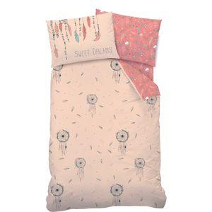 Traumfänger Baby-Bettwäsche in Biber 40x60 + 100x135 cm · Boho Style · Dreamcatcher, Federn & Blumen · Bettwäsche für Kinder - 100% Baumwolle