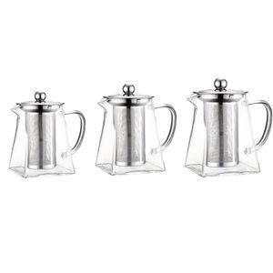 3pcs Teekanne Teebereiter Glaskanne Glas Wasser Krug mit Sieb
