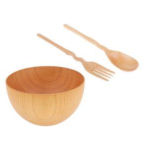 1 Stück Holzschale , 1 Stück Holzlöffel , 1 Stück Holzgabel , Größe M